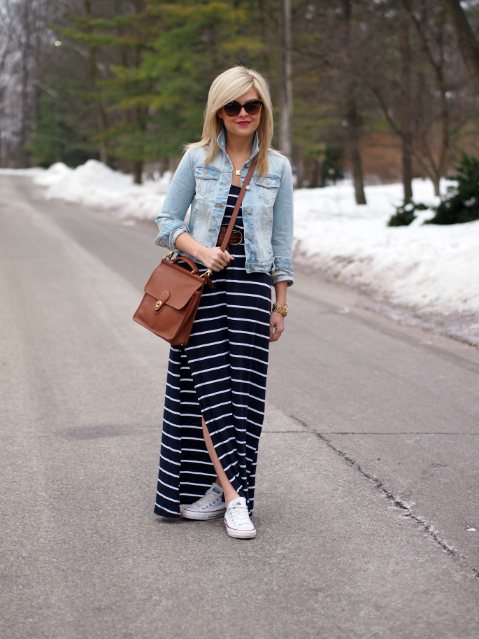 maxi dress and jean jacket hm