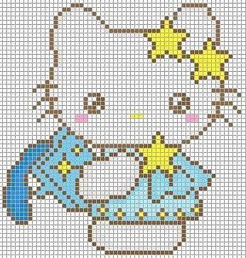 Hello Kitty perler bead pattern.