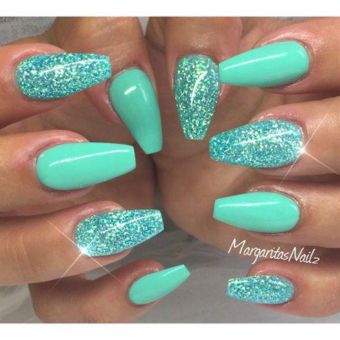 sparkle  shine  nail designs summer acrylic teal nails