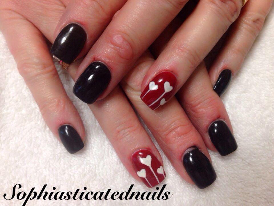 NexGen black and red heart | Valentine nails | Pinterest