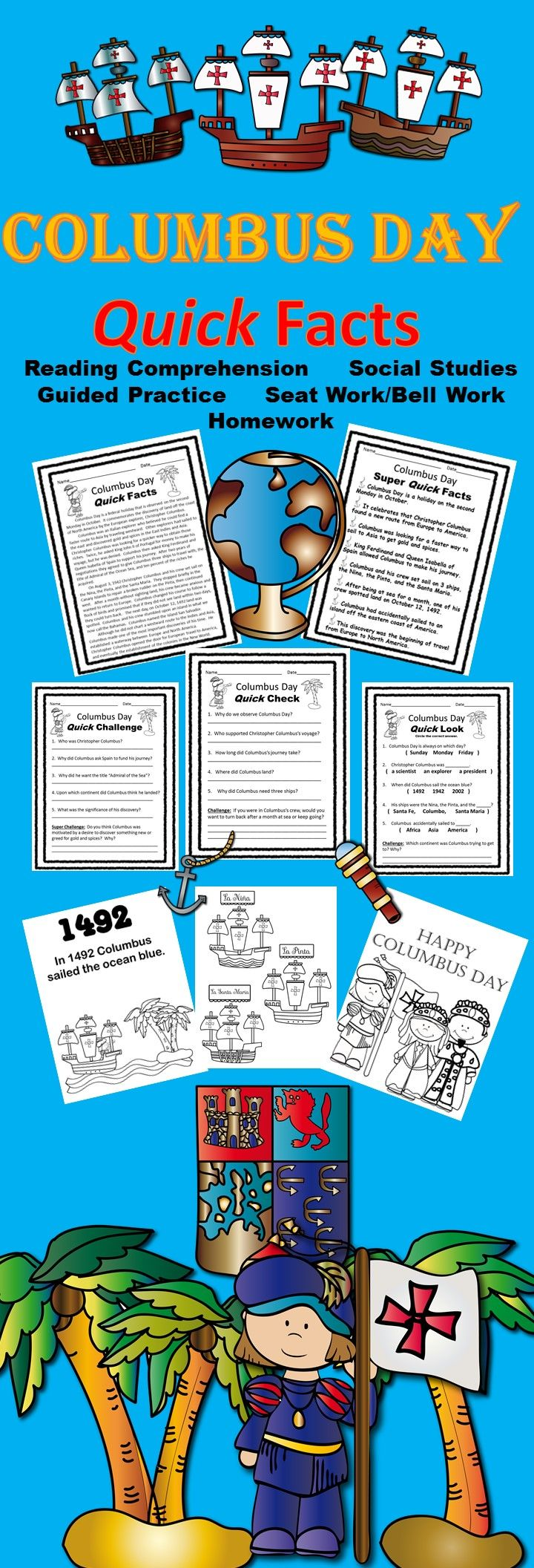 Reading Comprehension Social Studies Mini Lesson 3 Levels Of Instruction Seat Work Be History Teaching Resources Literacy Activities Homeschool History Columbus day reading comprehension