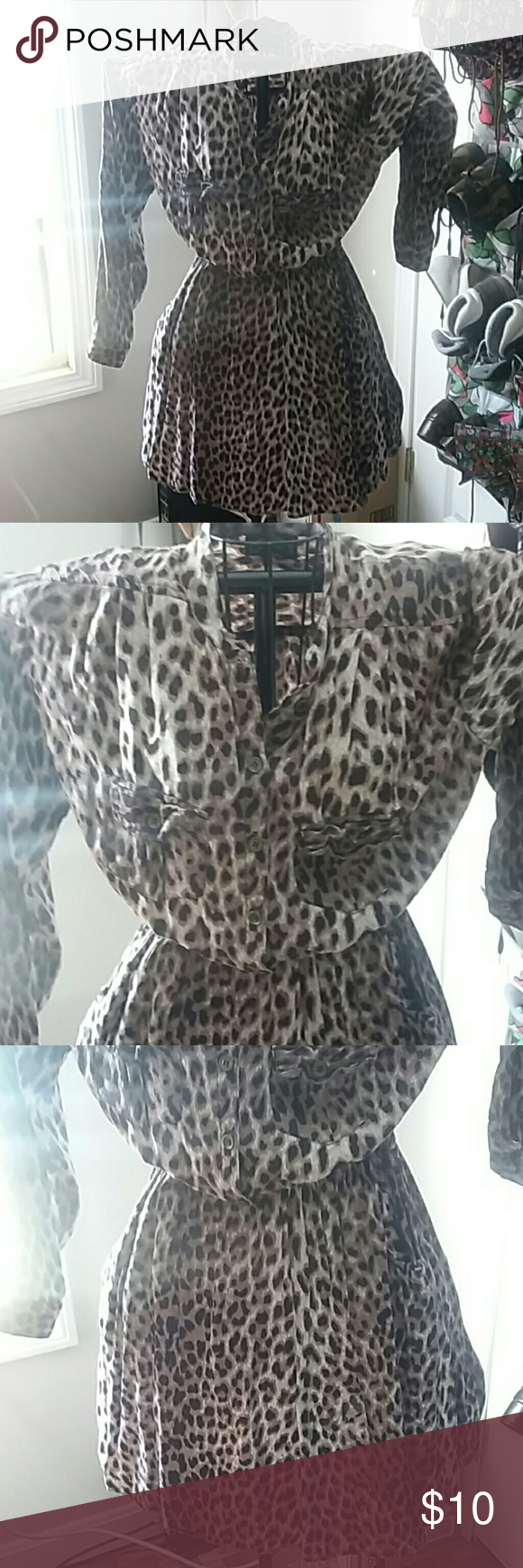 Cool pre loved ANGIE dress Leopard print, button up, gathered at waist with area for a belt, and pockets. Super soft, comfy, and stylish. No flaws Angie Dresses Midi