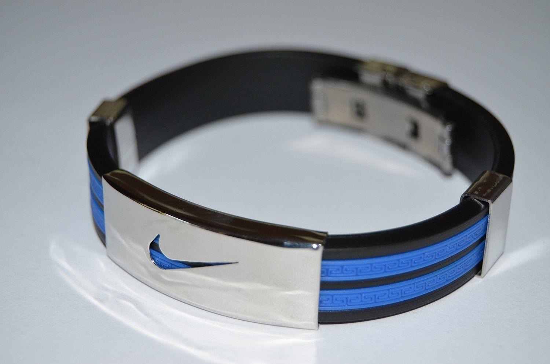 Nike Sport Baller Band Silicone Rubber Bracelet Wristband Cuff Bangle Metal
