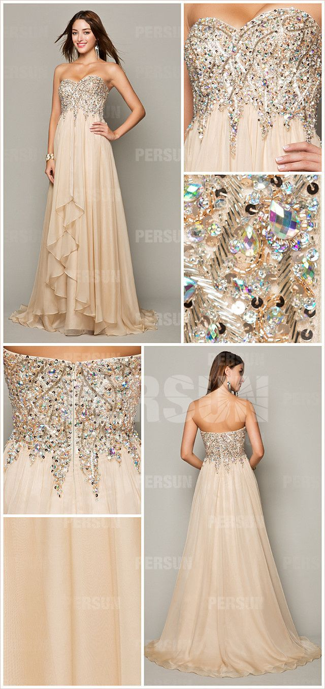 Cream exquisite beading formal dress with dissymmetrical skirt