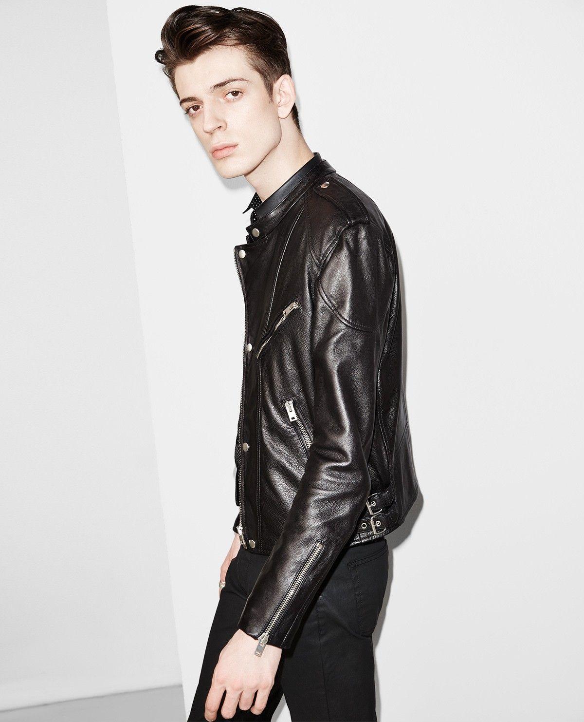 Biker Jacket In Lambskin Leather With A Biker Collar Leather Men Leather Outerwear Biker Jacket Jackets [ 1482 x 1200 Pixel ]