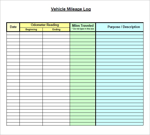 Vehicle Mileage Log Form  Work Work Work    Logs