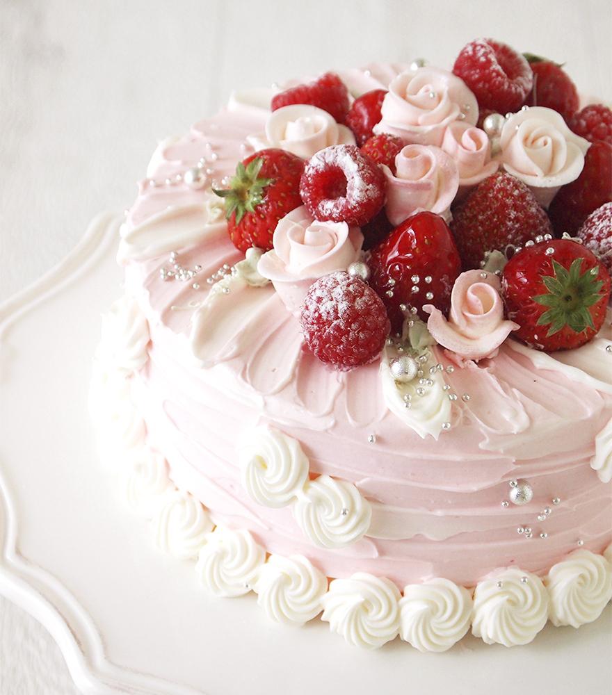ラブリーピンクデコレーション 誕生日ケーキや記念日のデコレーションケーキ商品 記念日スイーツのアニバーサリー 誕生日ケーキ デコレーション ピンクのケーキ いちご ケーキ デコレーション