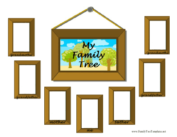 this fun family tree template is designed with picture frames in which to place photos of