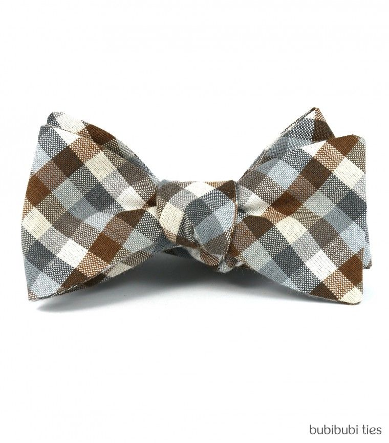 Brown/grey checked bowtie.