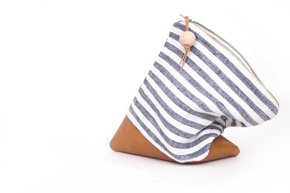 nautical stripe clutch fold over leather ipad case sleeve