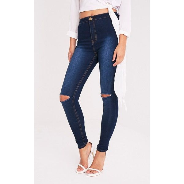 Kylie Dark Wash Knee Rip High Waisted Skinny Jean - 6 ($31) ❤ liked on  Polyvore featuring jeans, dark blue wash, high-waisted skinny jeans, white  high ...