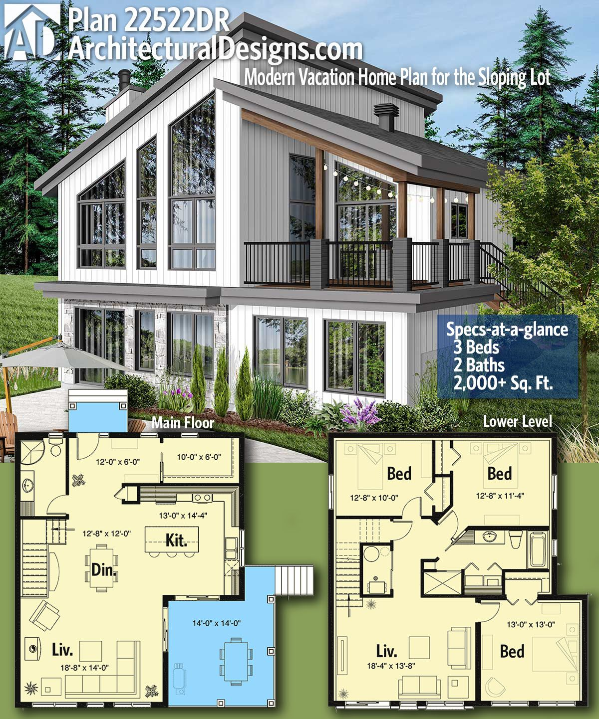 Plan 22522dr Modern Vacation Home Plan For The Sloping Lot House Layout Plans Architectural Design House Plans New House Plans