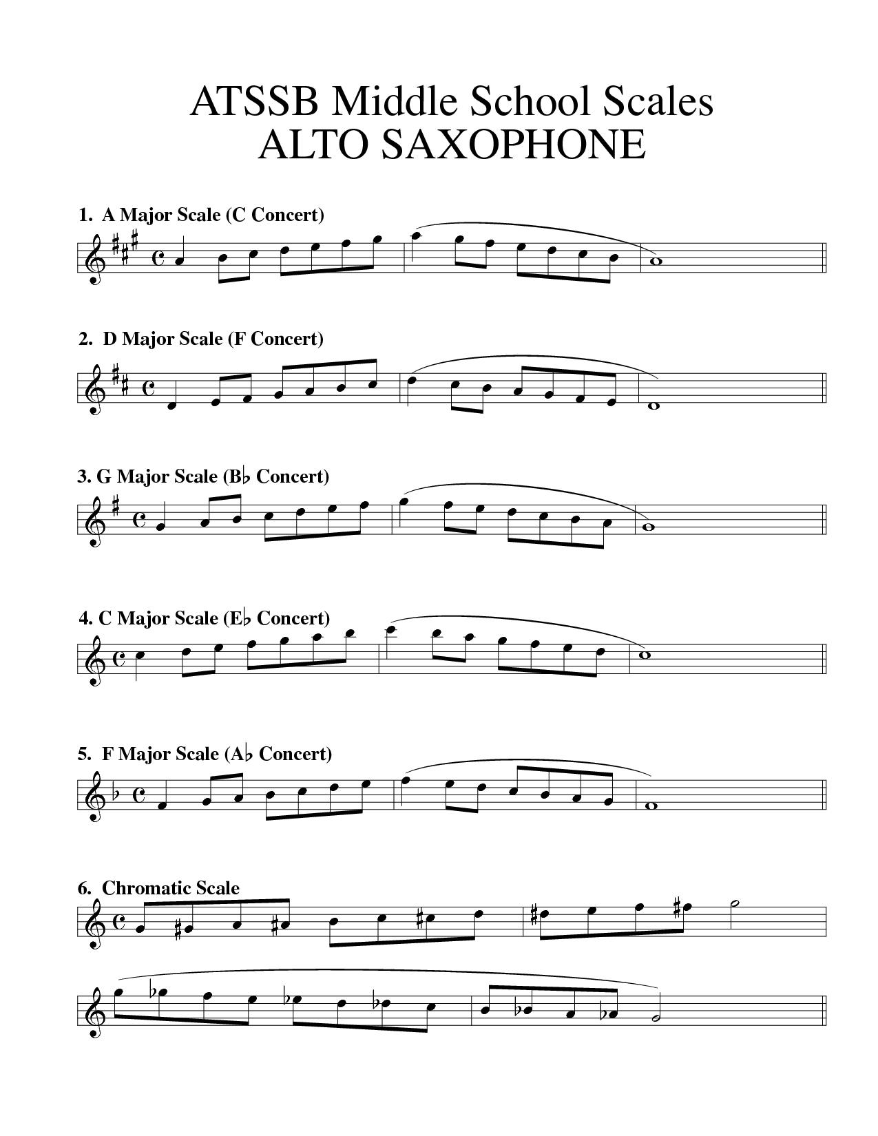 Saxaphone Major Scales In Concert Atssb Middle School Scales Alto