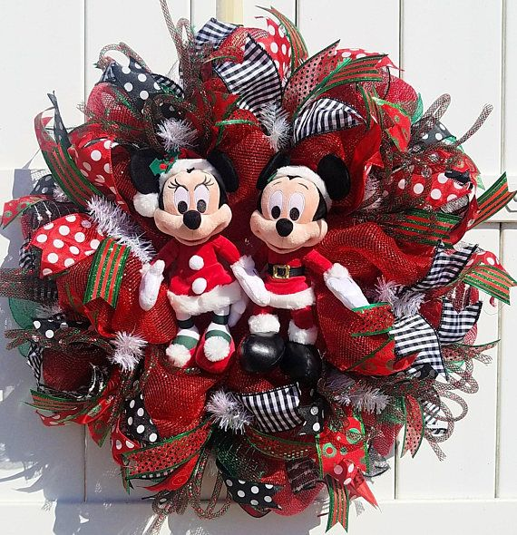 Couronne Noel Disney.Christmas Mickey And Minnie Wreath Santa Mickey And Minnie