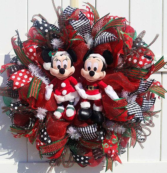 Super Noël Mickey et Minnie Wreath, père Noël Mickey et Minnie Couronne  EX97