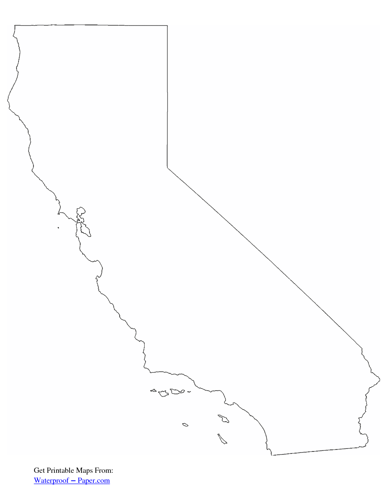 california free state printables free printable california outline map pdf - State Printables