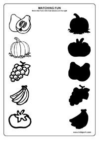 Fruits Worksheets,Printable Worksheets,Science Matching
