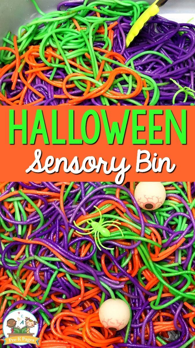 Halloween Sensory Bin with Spaghetti - Pre-K Pages