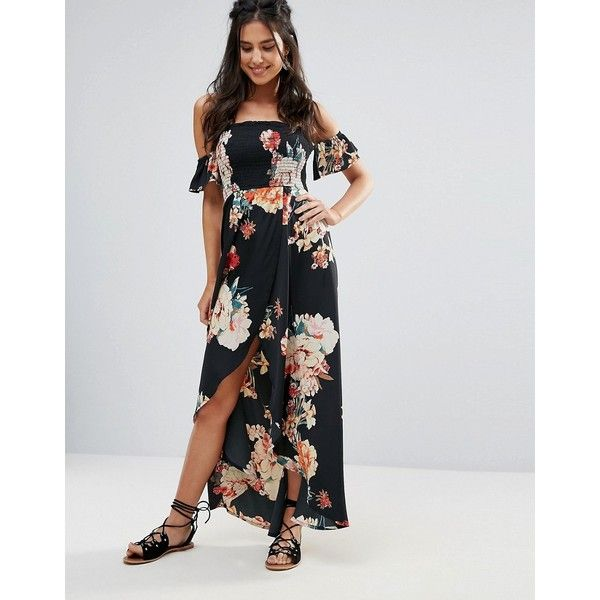 4294b41baa23 Band Of Gypsies Off Shoulder Floral Festival Maxi Dress (£52) ❤ liked on