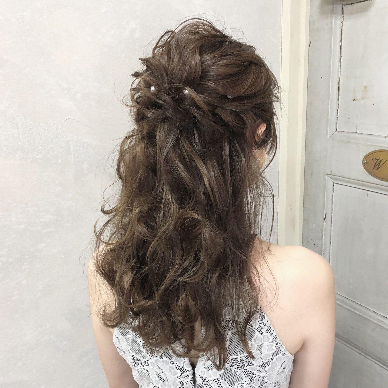 結婚式ヘアはハーフアップで 自分でもできるヘアアレンジもあり 結婚式 ヘアスタイル お呼ばれ ヘアセット ロング 結婚式 ヘアスタイル お呼ばれ ロング