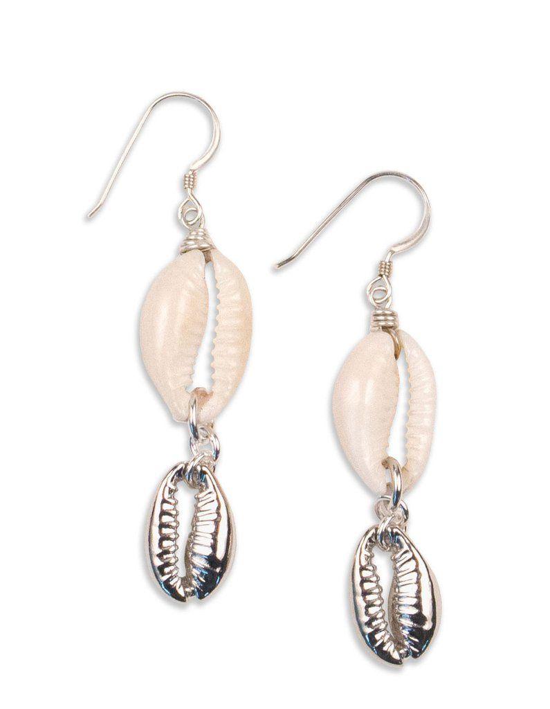 shell earrings Handmade sterling silver plated