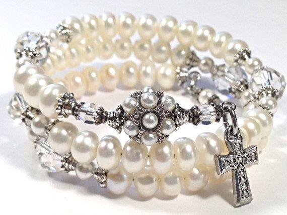Freshwater Pearl & Swarovsky Crystal Rosary Bracelet #rosary #pearls #crystal