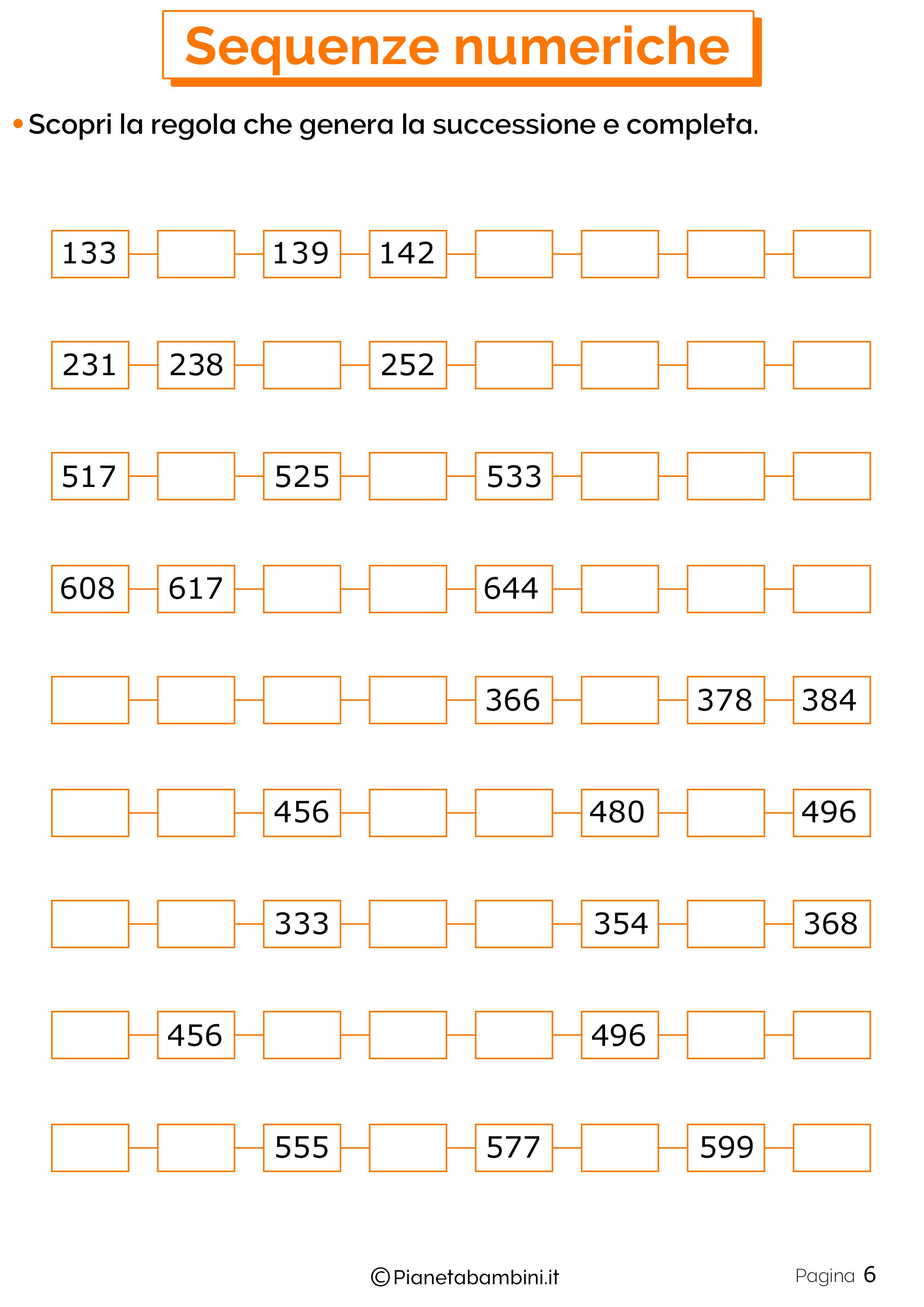 Esercizi sulle Sequenze Numeriche per la Scuola Primaria ...