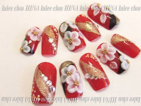 kimono -- red & gold with blossoms