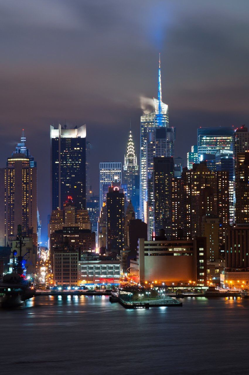 manhattan skyline from new jersey at night by lyonl nyc newyorkcity skylines new york city. Black Bedroom Furniture Sets. Home Design Ideas