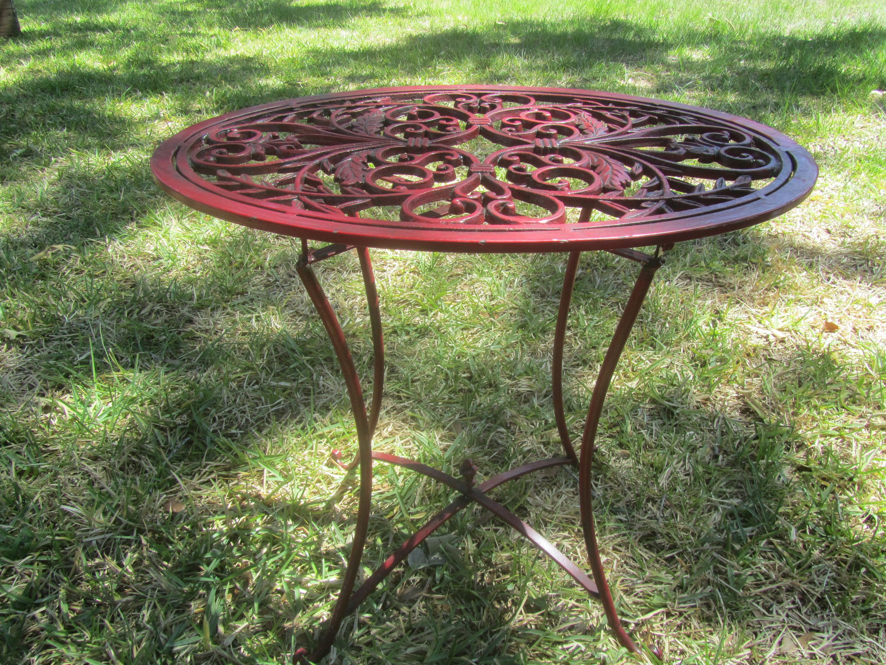 VINTAGE Side Table, Ornate Metal Folding Table, Shabby Chic decor ...
