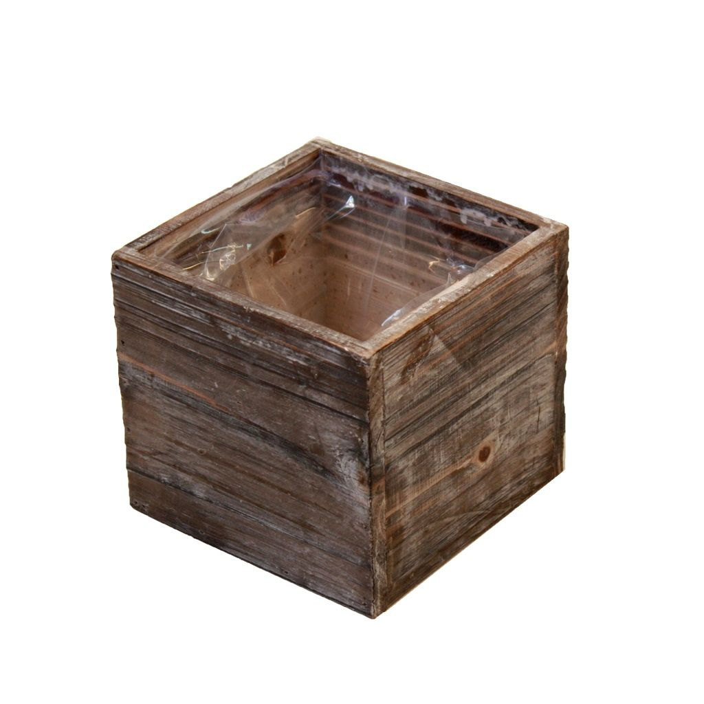 Caja de madera para centro de mesa maceta madera natural for Centros de mesa de madera