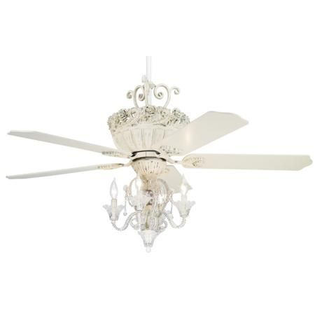 52 Casa Chic Antique White Ceiling Fan With 4 Light Kit