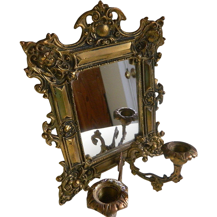 Small Wall Mirror/Candle Holder Late 1800'sEarly 1900's
