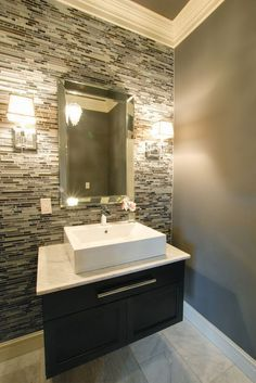 25 Modern Powder Room Design Ideas Bathroom accent wall