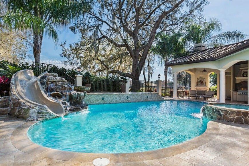 16 Amazing Swimming Pool Slides Pool Cost Backyard Pool Cost Swimming Pools Backyard