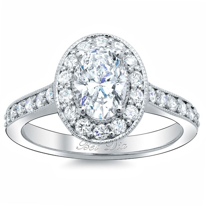 this oval halo engagement ring setting features peekaboo diamonds on the side as well as delicate antique style - Vintage Style Wedding Rings