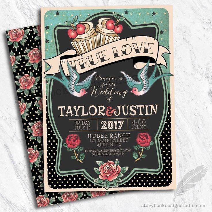 Rockabilly Wedding Invitations 50 S Theme Set Of 10 Printed