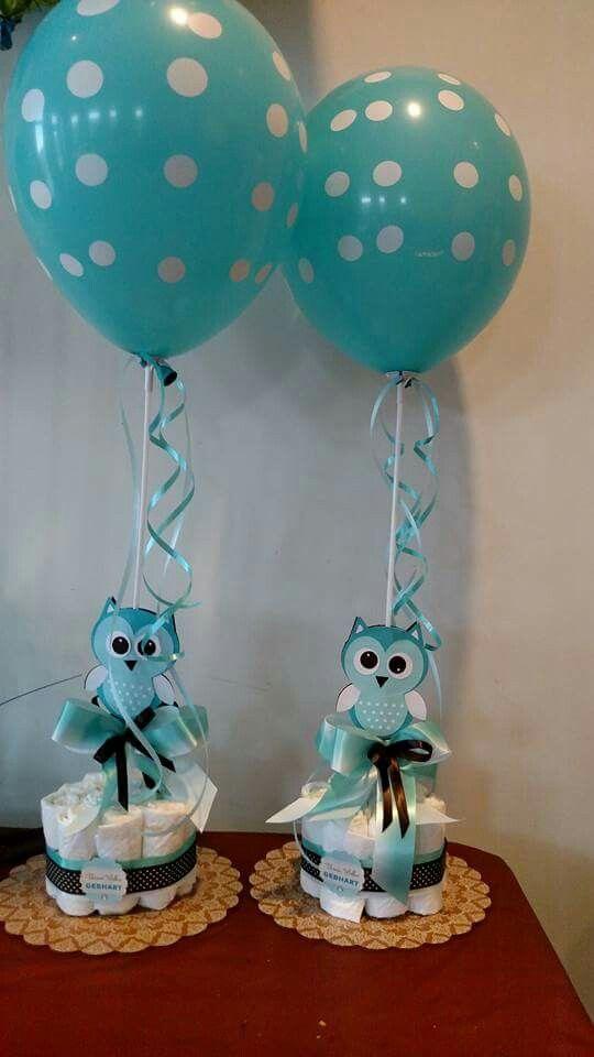 Owl baby shower centerpieces