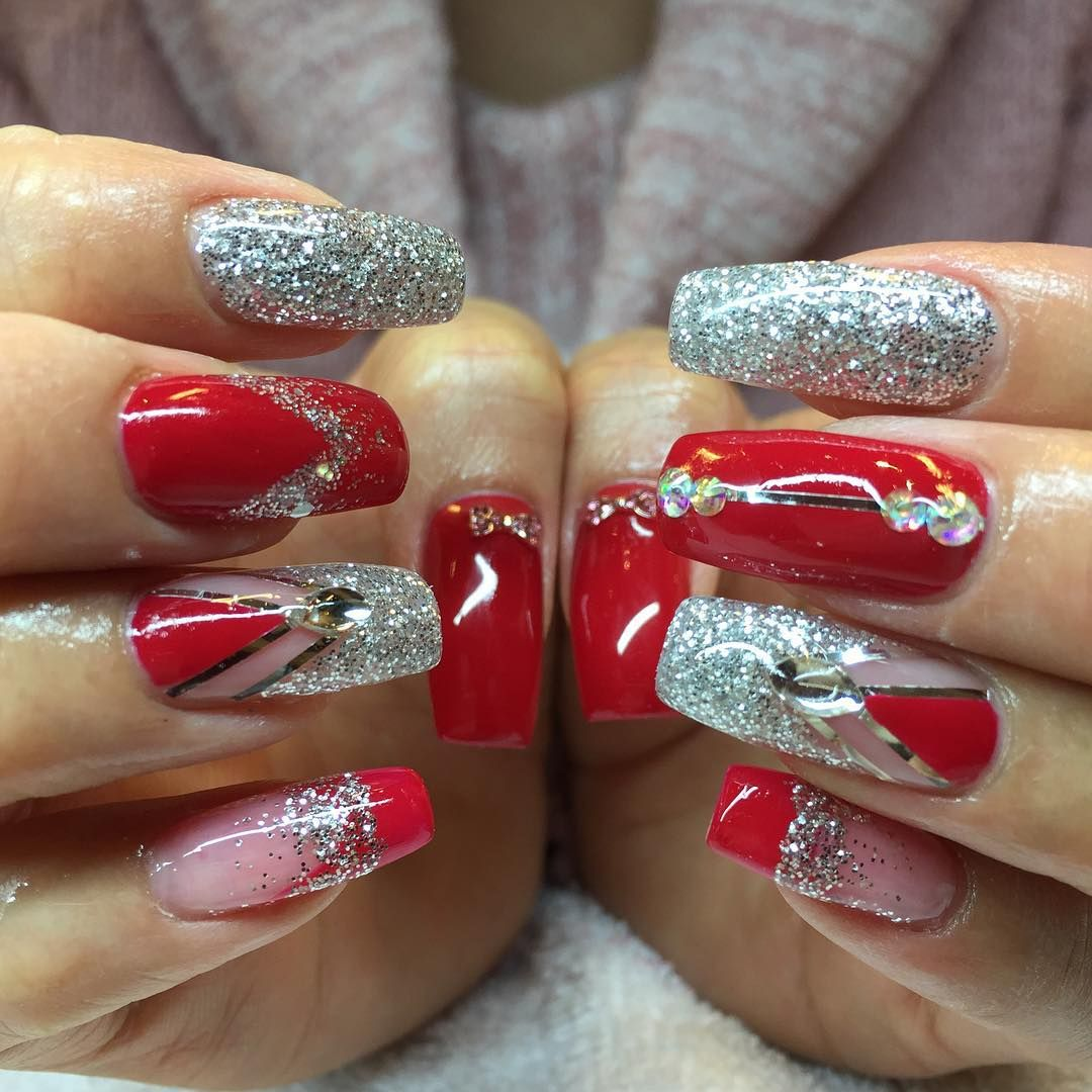 26+ Red and Silver Glitter Nail Art Designs , Ideas