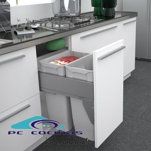 571 cubo de basura quadrifoglio con gu as de extracci n for Cocinas 70 cm ancho argentina