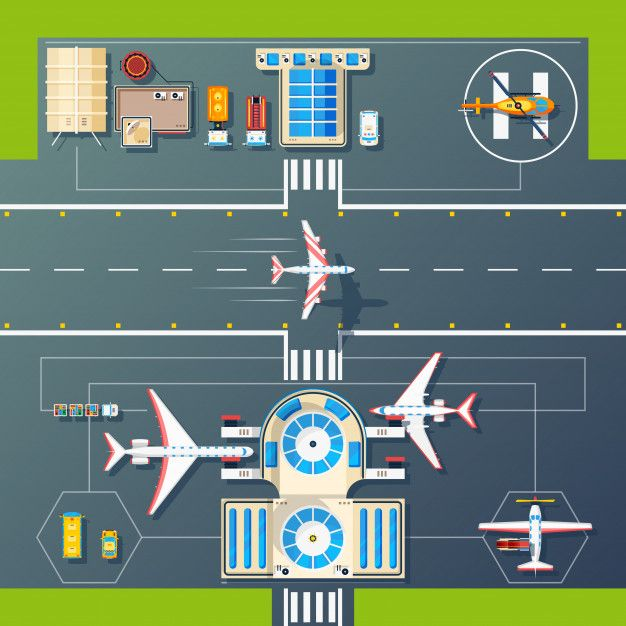Airport runways top view flat image Free Vector Airport