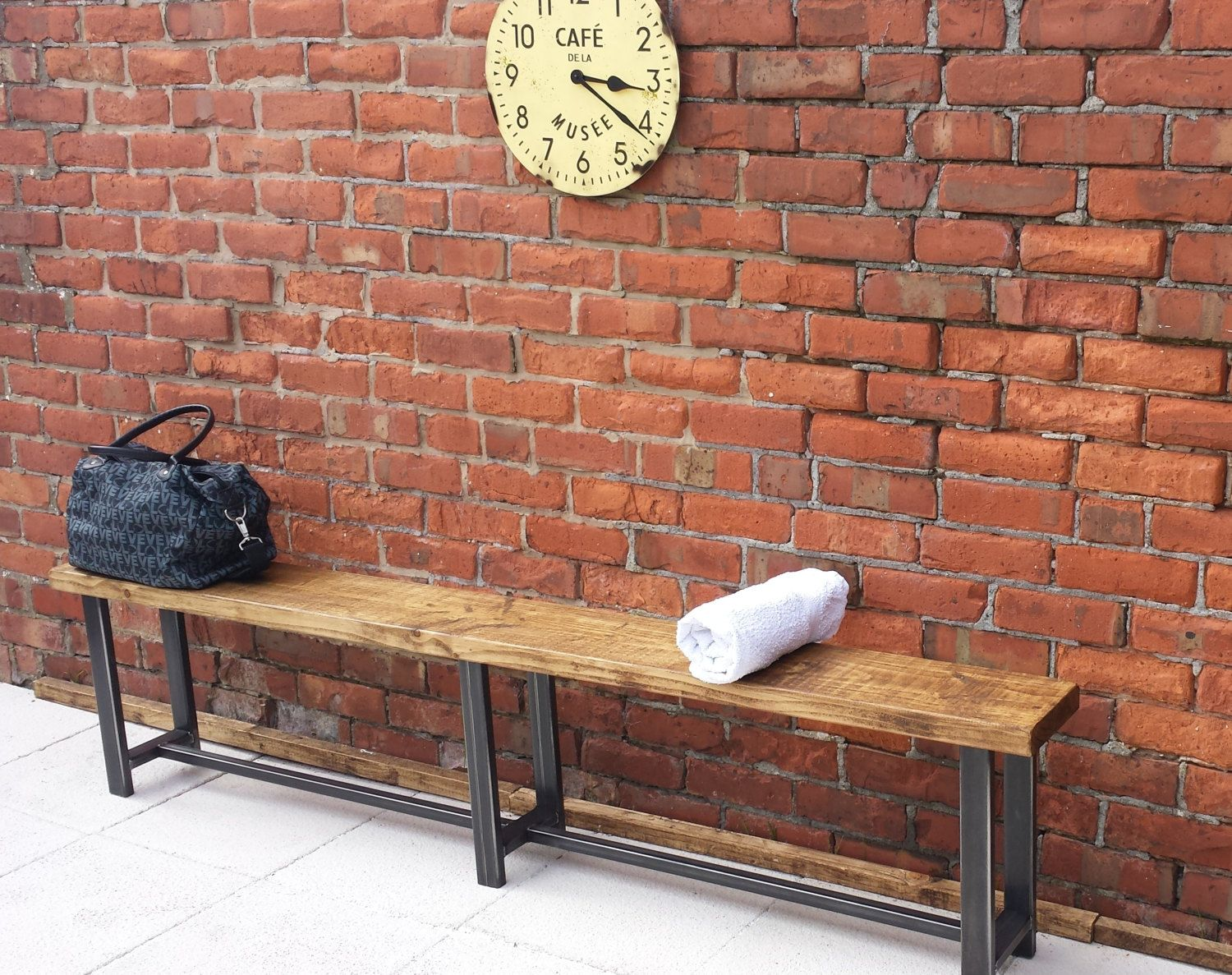 Large Rustic Hallway Waiting Room Bench Wood Metal Industrial Style By Redcottagefurniture On