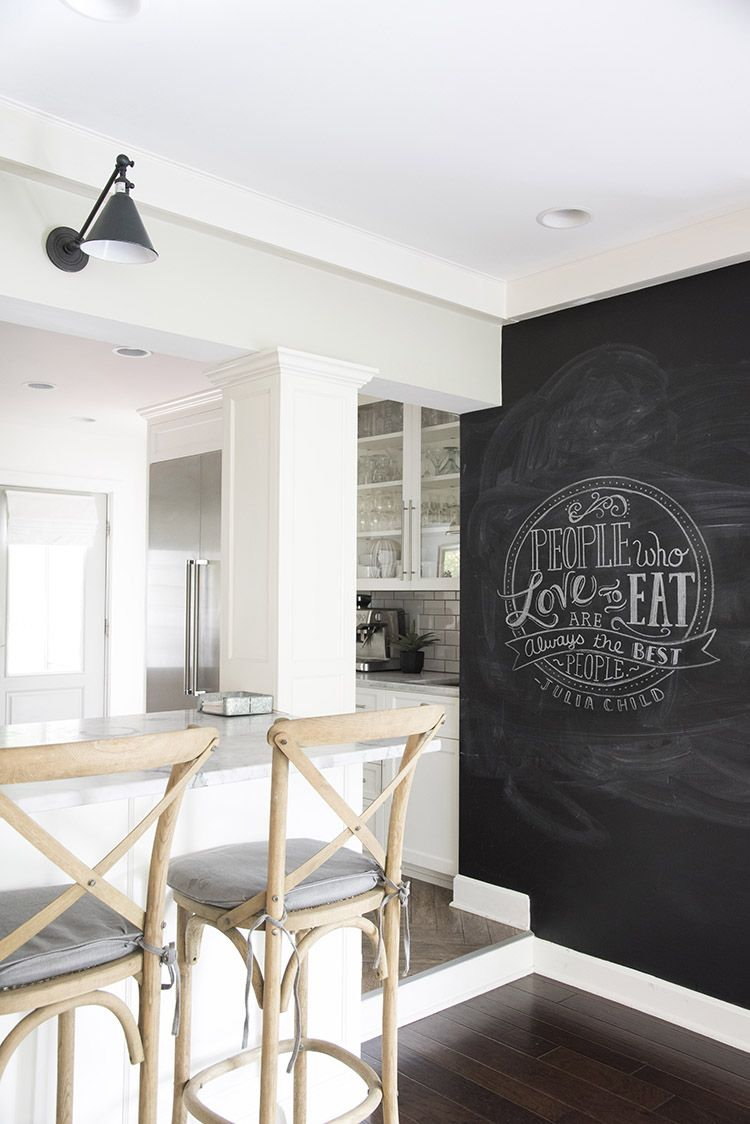 glamorous chalkboard wall kitchen | A Bright White Family-Friendly Kitchen | Accent wall in ...