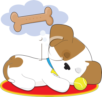 royalty free clipart image of a puppy dreaming of a bone animal rh pinterest com free clipart puppy paw prints free puppy clipart pictures