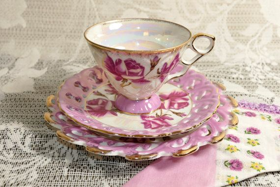 Vintage Three Piece Pink Rose Cup and Saucers