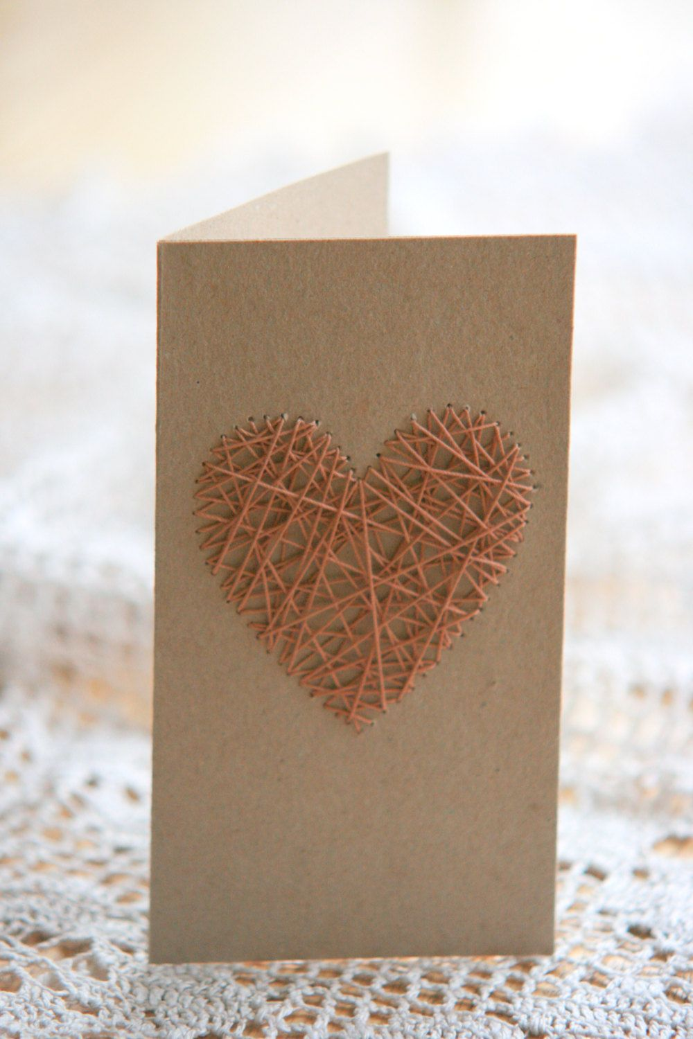 Set Of 3 Handmade Recycled Craft Paper Greeting Cards String Art