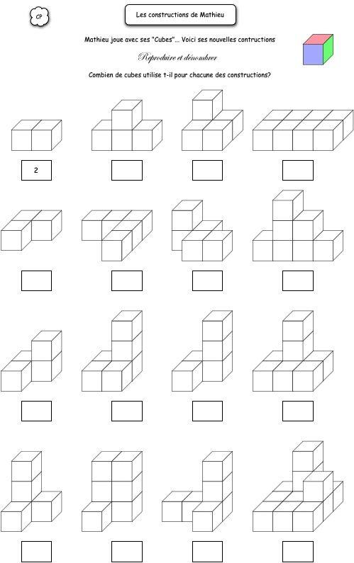 Combien de cubes | Onderwijs wiskunde, 2e leerjaar, Wiskunde