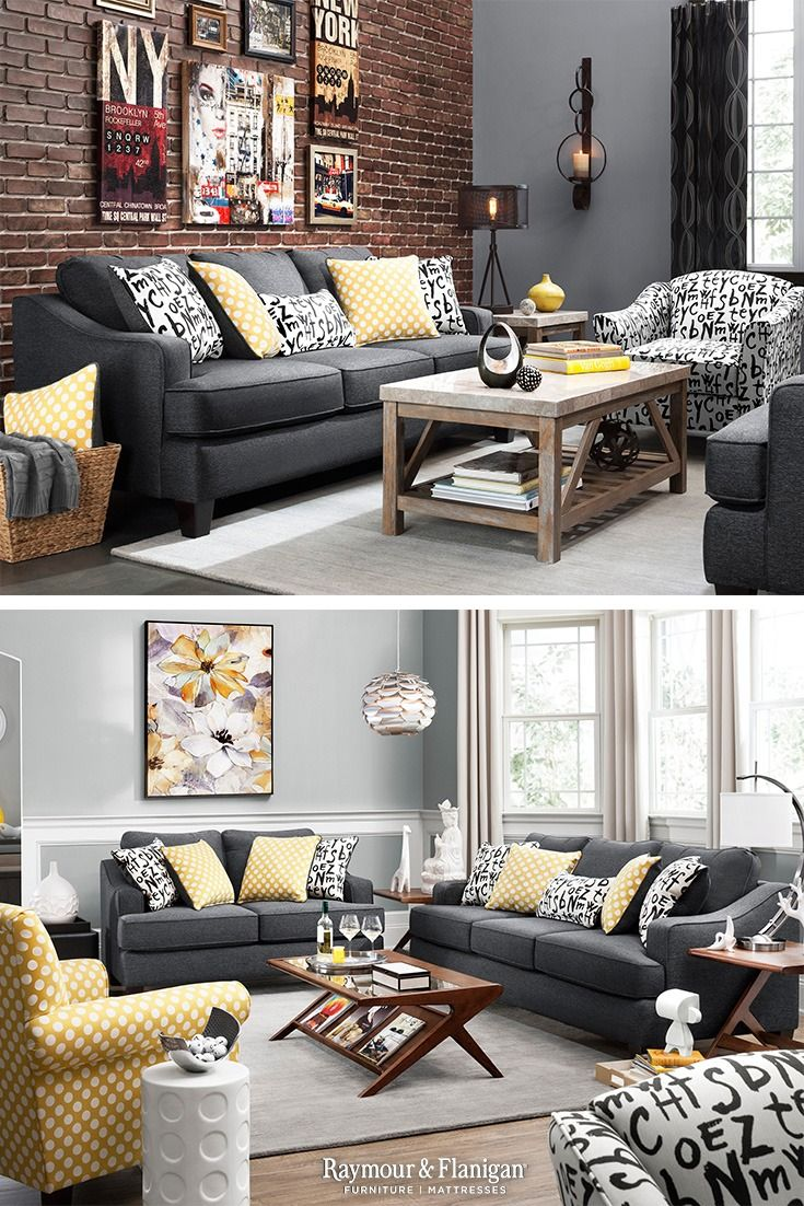 Who Doesn T Love Furniture With Personality The Union Square Sofa Has Just Tha Grey Furniture Living Room Dark Grey Sofa Living Room Living Room Color Schemes #raymour #flanigan #living #room #sets