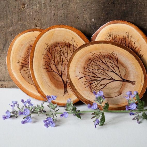 crafty ideas modern coasters. Set of 4 Rustic  Modern Cherry Wood Slice Coasters with Burned Tree Designs