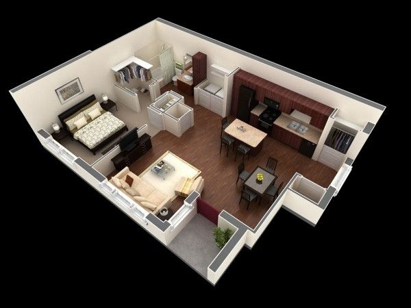 plan-3D-appartement-1-chambre-37 Small House Plans Pinterest - plan de maison 3d gratuit